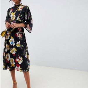 ISO Asos high neck floral pleated dress